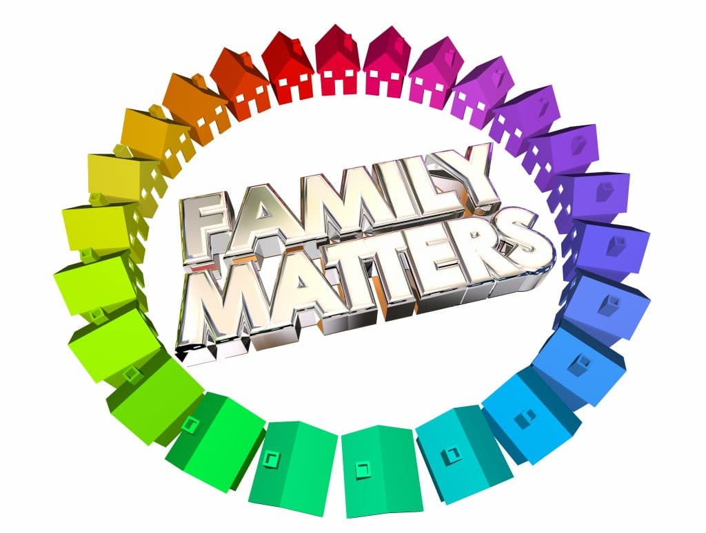 3D illustration of Family Matters with rainbow coloured houses
